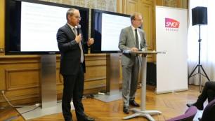 Patrick Jeantet, président directeur général de SNCF Réseau, et Georges Ichkanian,  directeur général adjoint et DRH de SNCF Réseau.  Crédit : Camille Boulate