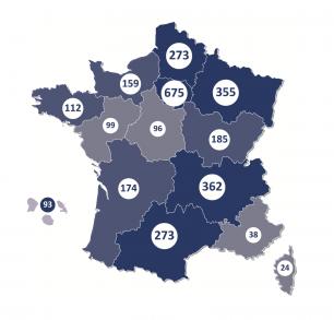 Le nombre d'événements par région, (ministère de l'Économie et des Finances).