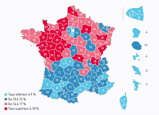 Le taux de pénétration de l'apprentissage selon les départements français