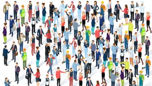 People,Crowd.,Isometric,Vector,Background,Mock,Up.,Men,And,Women,