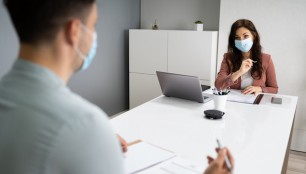 Job,Interview,Business,Meeting,At,Law,Office,Wearing,Face,Mask